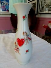 Vintage Schmid Flower Or Bud Vase With Cupids And Hearts Painted On - Porcelain