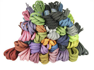 ROUND THICK ROPE STYLE REFLECTIVE LACES 5mm wide - 130cm long - 32 COLOURS