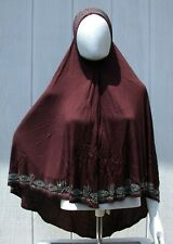 One Piece Muslim Girls Salah Prayer Overhead Hijab Long BROWN Polyester Khimar