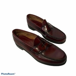 G.H. Bass Weejuns Men's Mahogany Burgundy Leather Casual Dress Loafers Shoes 10