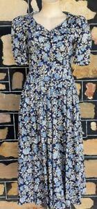'Laura Ashley' 1980's cotton dress, blue floral print, size 8
