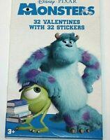 Disney Pixar Monsters 32 Valentines w/ 32 Stickers