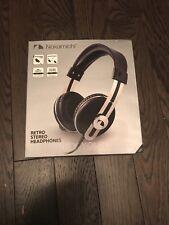 NEW Nakamichi Retro Stereo Headphones - Volume Control- Black w/ red stitching