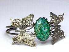 Butterfly Peacock BRACELET Antique bronze Art nouveau 18 X 25mm cabochon stone