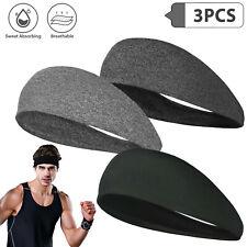 3-Pack Headband Stretch Sports Yoga Gym Hair Band Head Wrap Sweatband Women Men