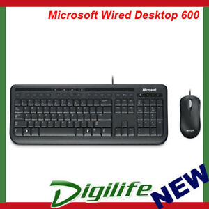Microsoft Wired Desktop 600 USB Keyboard and Mouse Combo for Desktop PC Mac