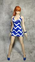1:6 Scale Blue stripe Women's Dress For 1/6th HT PH Female Figure Doll Toys