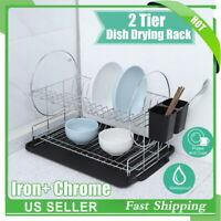 2 Layer Sink Drain Rack Kitchen Shelf Bowl Dish Cutlery Drying Drainer Holder US