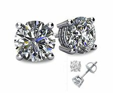 3CT Lab Created Diamond 14K White Gold Round Cut Screw-Back Stud Earrings