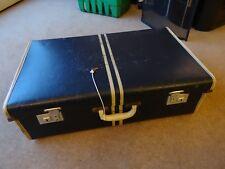 "Vintage  ""Pioneer Luggage"" Suitcase  Locks With Key double white stripe"
