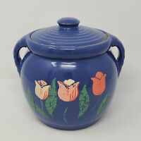 Cookie Jar Old Vintage Stoneware Pottery Flowers Rare Rustic Made In USA