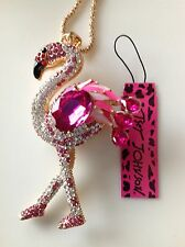"PINK CRYSTAL FLORIDA FLAMINGO 28"" Pendant Necklace Betsey Johnson"