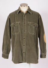 ORVIS Green Cotton Corduroy Elbow Pad Western Button Long Sleeve Shirt Womens M