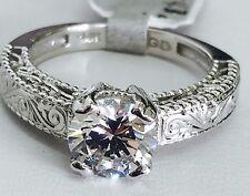 14K White Gold Antique Design CZ Solitaire Engagement Ring, 7mm Cubic Zirconia