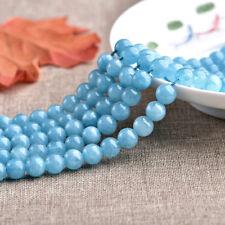 "8mm Natural Smooth Blue Aquamarine Round Gemstone Loose Beads 15"" AAA DIY"