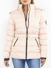 Womens Puffer Jacket Padded Parka Faux Fur Coat Size 12 8 10 14 16 Grey Pink