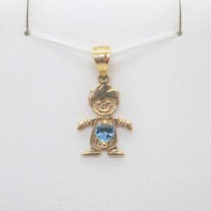 14k Yellow Gold Created Blue Zircon December Birthstone Boy Charm Pendant
