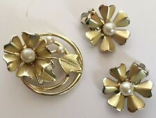 Vintage Cora Gold-tone Brooch with Faux Pearls and Clip Earrings