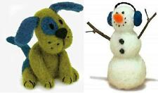 Lot of 2 Felted Character Needle Felting Kits  PUPPY DOG ~ SNOWMAN