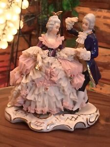 DRESDEN VOLKSTEDT FIGURINE GERMAN LACE PORCELAIN FIGURINE  COUPLE DANCING