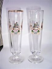 2 Lindemans Fluted Glasses Pomme Kriek Peche Framboise 8 oz Liquor Stemmed