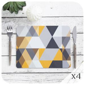 Scandi Geometric Placemat Set of Four, Grey & Mustard Yellow Placemats, Modern