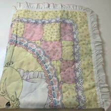 vintage baby blanket quilt hand tie blue cream square plaid floral polka dot
