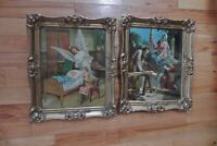 Antique Gold Gesso Ornate Frames (2) With Glass & Religious Prints