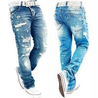 Men Ripped Skinny Distressed Pleated Stretch Lightwash Jean Biker Trousers Pants