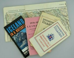 Great Bundle of 5 Vintage Iceland Maps Timetable And Guide