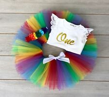 Rainbow Cake Smash Outfit - 3 Piece 1st Birthday Tutu Set - Photography Prop