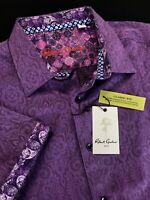 Robert Graham Equinox Medallion Short Sleeve Sport Shirt Purple $158