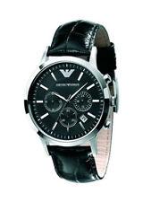 Runde polierte Armbanduhren mit Armband aus echtem Leder