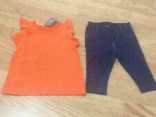Brand New Next Baby Girls Size 3-6 Months Orange Top & Jean Leggings