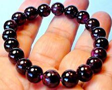 Garnet Crystal Beads Stretchy Bangle Bracelet 151.10 ct 9.0 mm Natural Wine Red