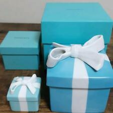 Tiffany & Co. Blue Bow Box Large and Small Set Jewery Case Trinket Box