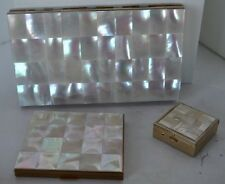 Vintage Mother of Pearl Compact Lot of 3 Pill Box Cigarette Case