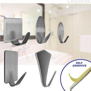 Stainless Steel Self Adhesive Hooks Hanger Stick On Wall Door Rope Tea Towel