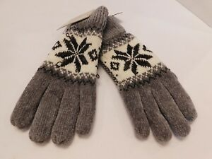 *ISOTONER LADIES GRAY & WHITE  KNIT WINTER GLOVES THINSULATE LINING SIZE ONE SZE