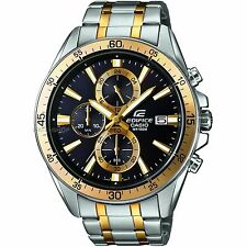 Casio Edifice Mens EFR-546SG-1AVUEF Alarm Chronograph Black Watch Gold Highlight