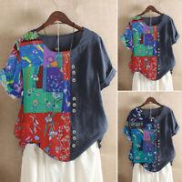 Women Summer Short Sleeve Shirt Tops Vintage T-Shirt Tops Tee Blouse Plus Jumper