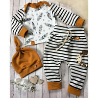 Newborn Baby Boy Girl Kid Feather T-shirt Tops Striped Pants Clothes Outfits Set