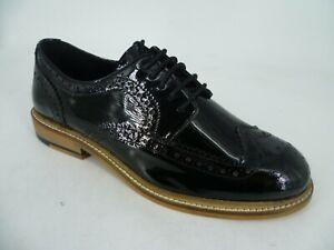Asos Moral Leather Brogues Black Patent UK 5 EU 38 LN52 39