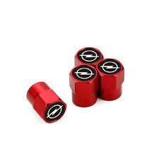 4pcs Red Metal Car Wheel Tyre Tire Valves Dust Stems Air Caps Cover Opel Emblem