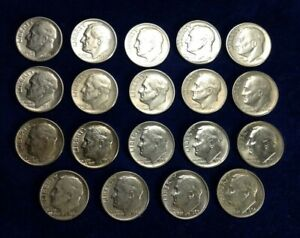 NINETEEN (19) DIFFERENT YEARS U. S. Silver Roosevelt DIMES 10 Cent coins 1946-64
