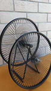 "Pair of 26"" Cruiser Lowrider Bicycle Dayton BLACK Wheels 144 Spokes Front & Rear"