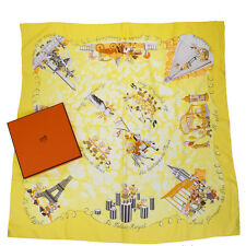 "Authentic HERMES Logos XL Scarf ""LES TRIPLES"" 100% Silk Yellow France 05Q521"