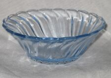 Small blue depression glass bowl 'carnival' pattern by Bagley UK