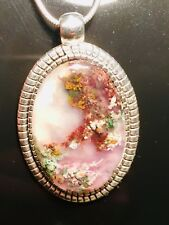 Natural Multi Coloured Plume Agate Necklace Pendant Beautiful Pendant Handmade .