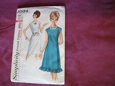 Vintage Simplicity Pattern 5534 Miss Cocktail Dress 1964 Sz 14 Bust 34 A-Line